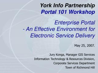York Info Partnership Portal 101 Workshop