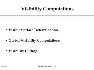 Visibility Computations