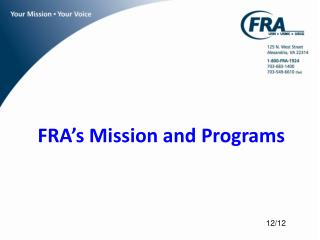 FRA's Mission and Programs
