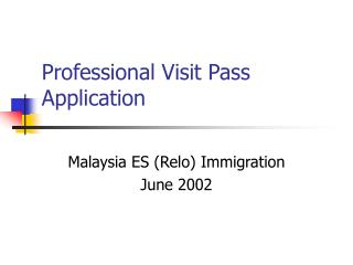 Professional Visit Pass Application