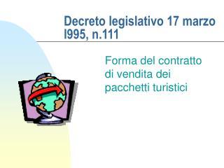 Decreto legislativo 17 marzo l995, n.111