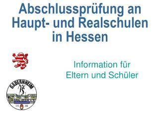 Abschlussprüfung an Haupt- und Realschulen in Hessen