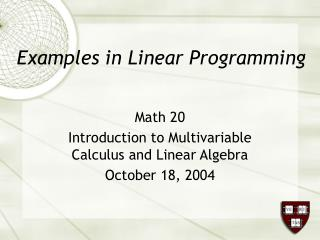 Examples in Linear Programming