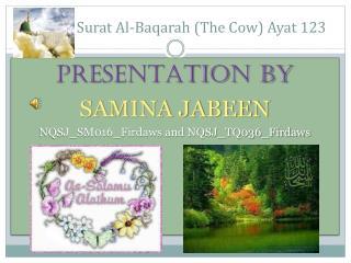 Surat Al- Baqarah  (The  Cow )  Ayat  123