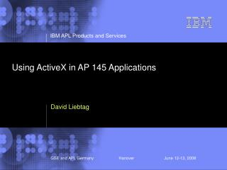 Using ActiveX in AP 145 Applications