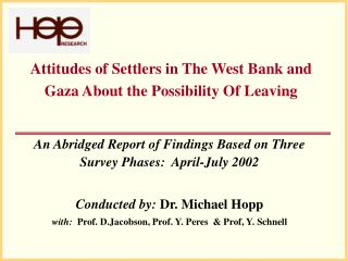 Attitudes of Settlers in The West Bank and Gaza About the Possibility Of Leaving