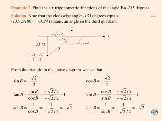Example 2   Find the six trigonometric functions of the angle B= -135  degrees.