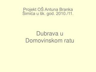 Projekt OŠ Antuna Branka Šimića u šk. god. 2010./11.