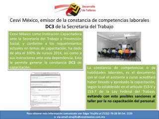 Cesvi México, emisor de la constancia de competencias laborales  DC3  de la Secretaria del Trabajo