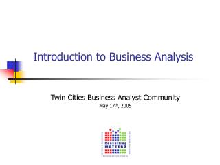 Introduction to Business Analysis