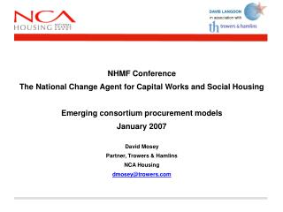 NHMF Conference The National Change Agent for Capital Works and Social Housing