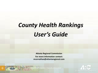 County Health Rankings User's Guide