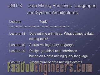 UNIT-3 	Data Mining Primitives, Languages, and System Architectures
