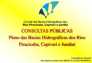 CONSULTAS PÚBLICAS  Plano das Bacias Hidrográficas dos Rios  Piracicaba, Capivari e Jundiaí