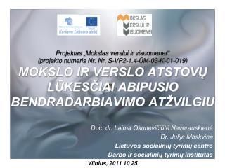 Doc. dr. Laima Okunevičiūtė Neverauskienė  Dr. Julija Moskvina Lietuvos socialinių tyrimų centro