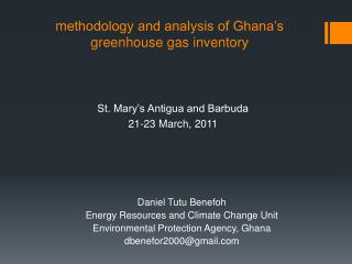 m ethodology and analysis of Ghana's greenhouse gas inventory