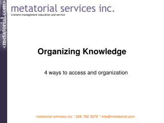 Organizing Knowledge