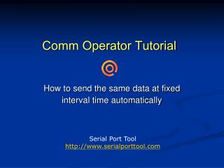 Comm Operator Tutorial