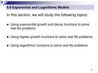 6.8 Exponential and Logarithmic Models