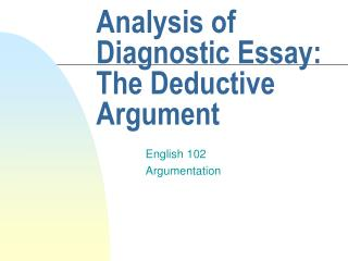 Analysis of Diagnostic Essay: The Deductive Argument