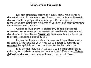 Le  lancement d'un satellite