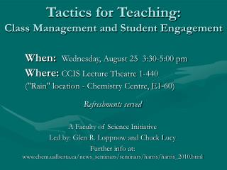 Tactics for Teaching:  Class Management and Student Engagement