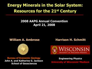 Energy Minerals in the Solar System: Resources for the 21 st  Century