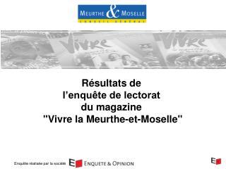 """Résultats de  l'enquête de lectorat  du magazine  """"Vivre la Meurthe-et-Moselle"""""""