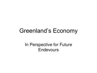 Greenland's Economy