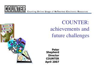 COUNTER:  achievements and  future challenges