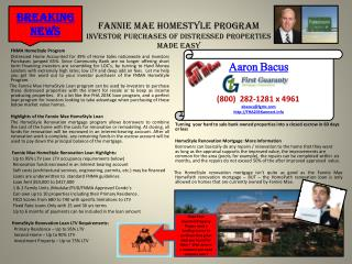 Fannie Mae HomeStyle Program Investor Purchases of Distressed Properties Made Easy