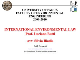 UNIVERSITY OF PADUA FACULTY OF ENVIRONMENTAL ENGINEERING 2009-2010