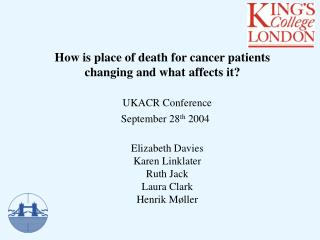 How is place of death for cancer patients  changing and what affects it?