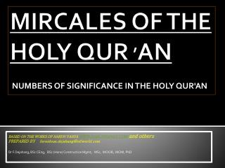 MIRCALES OF THE HOLY QUR  ' AN