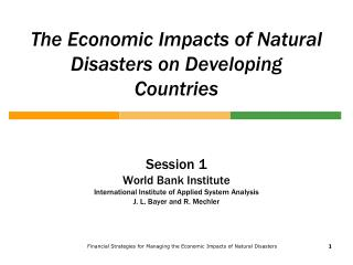 The Economic Impacts of Natural Disasters on Developing Countries