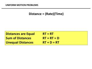 Distances are Equal  	RT = RT Sum of Distances		RT + RT = D Unequal Distances 	RT + D = RT