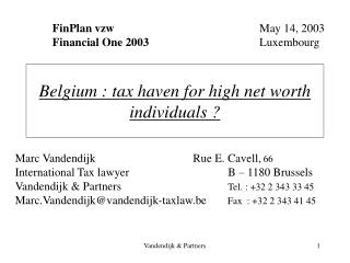 Belgium : tax haven for high net worth individuals ?