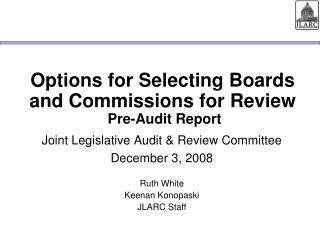 Options for Selecting Boards and Commissions for Review  Pre-Audit Report