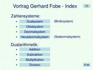 Vortrag Gerhard Fobe - Index