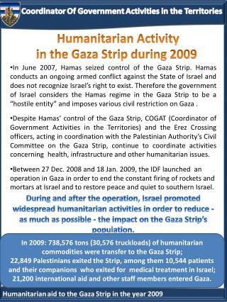 H umanitarian  A ctivity  in  the Gaza Strip  during 2009
