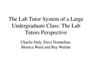 The Lab Tutor System of a Large Undergraduate Class: The Lab Tutors Perspective