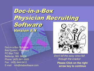 Doc-in-a-Box Physician Recruiting Software Version 8.X