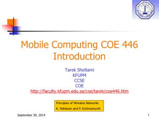 Mobile Computing COE 446 Introduction