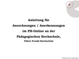 Anleitung für  Anrechnungen / Anerkennungen im PH-Online an der Pädagogischen Hochschule,