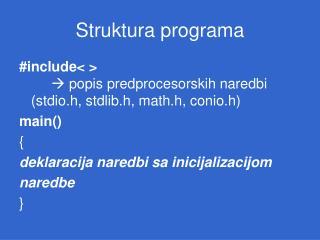 Struktura programa