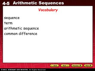 sequence term arithmetic sequence common difference
