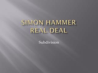 SIMON HAMMER Real deal