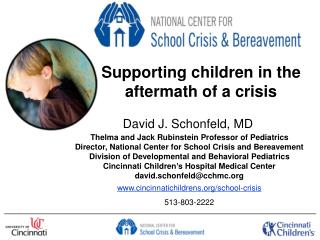 Supporting children in the aftermath of a crisis