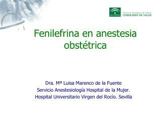 Fenilefrina en anestesia obstétrica