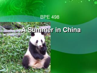 A Summer in China